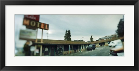 Framed Motel at the roadside, Aurora Avenue, Seattle, Washington State, USA Print