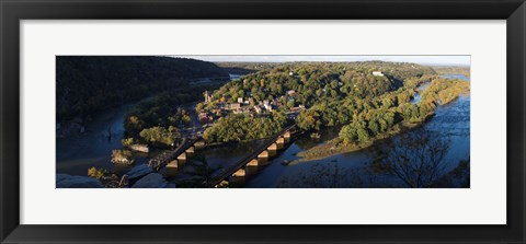 Framed High angle view of a town, Harpers Ferry, Jefferson County, West Virginia, USA Print