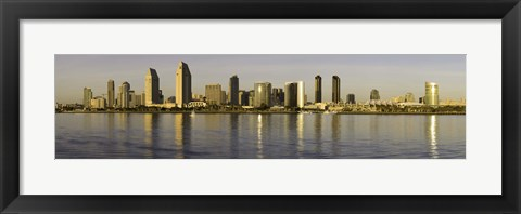 Framed Reflection of skyscrapers in water at sunset, San Diego, California, USA Print