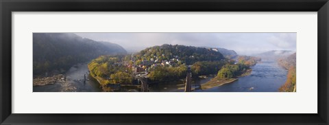 Framed Aerial view of an island, Harpers Ferry, Jefferson County, West Virginia, USA Print