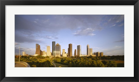 Framed Houston Skyscrapers, Texas Print