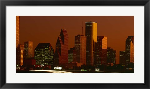 Framed Skyscrapers in a city at sunset, Houston, Texas, USA Print
