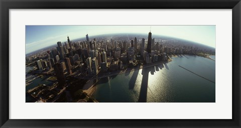 Framed Bird's eye view of Chicago, Cook County, Illinois, USA 2010 Print