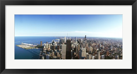 Framed View of Chicago from the air, Cook County, Illinois, USA 2010 Print