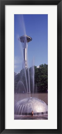 Framed Fountain with a tower in the background, Space Needle, Seattle, King County, Washington State, USA Print