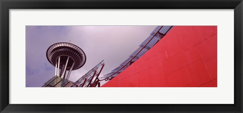 Framed Low angle view of a tower (horizontal), Space Needle, Seattle, Washington State Print