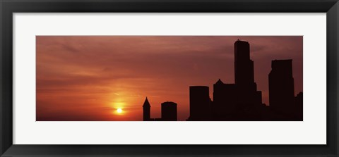 Framed Silhouette of buildings at dusk, Seattle, Washington State Print