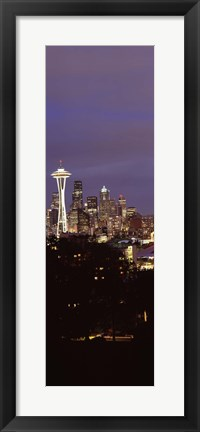 Framed Skyscrapers in a city lit up at night, Space Needle, Seattle, King County, Washington State, USA Print