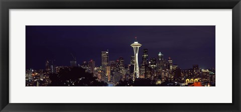 Framed Skyscrapers and Space Needle Lit Up at Night Print