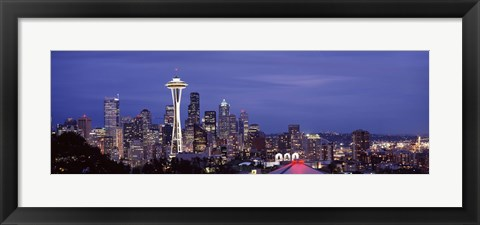 Framed Space Needle and Seattle Skyline 2010 Print