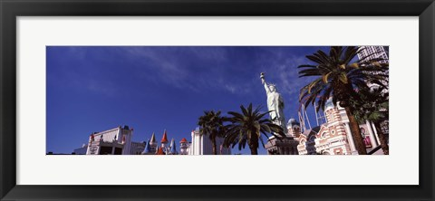 Framed Low angle view of skyscrapers in a city, The Strip, Las Vegas, Nevada, USA Print