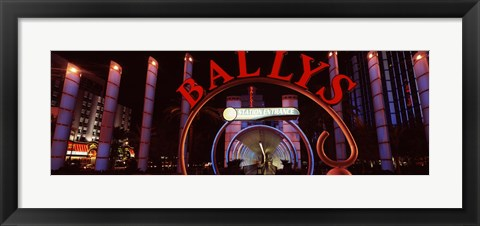 Framed Neon sign of a hotel, Bally's Las Vegas, Monorail Station, The Strip, Las Vegas, Nevada, USA Print