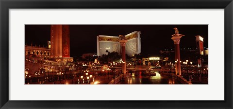 Framed Hotel lit up at night, The Mirage, The Strip, Las Vegas, Nevada, USA Print