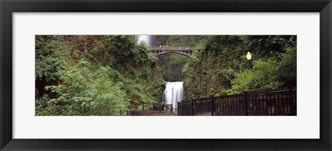 Framed Waterfall in a forest, Multnomah Falls, Hood River, Columbia River Gorge, Oregon Print