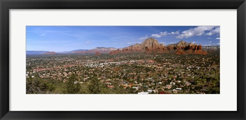 Framed City with rock formations in the background, Cathedral Rocks, Sedona, Coconino County, Arizona, USA Print