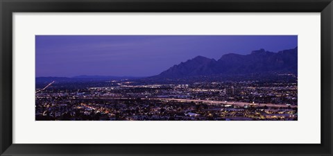 Framed Aerial view of a city at night, Tucson, Pima County, Arizona Print