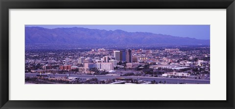 Framed Tucson, Arizona with Purple Sky 2010 Print