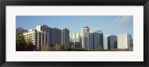 Framed Skyscrapers in a city, Lake Eola, Orlando, Orange County, Florida, USA Print