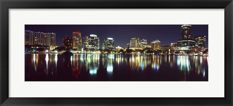 Framed Buildings at night, Lake Eola, Orlando, Florida Print