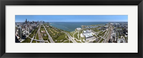 Framed 180 degree view of a city, Lake Michigan, Chicago, Cook County, Illinois, USA 2009 Print