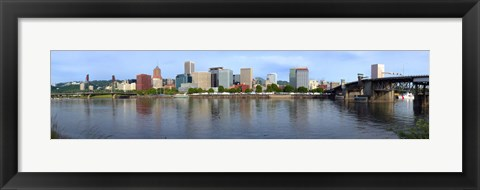 Framed Buildings at the waterfront, Willamette River, Portland, Oregon Print
