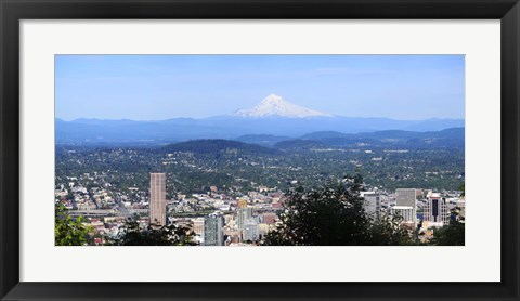 Framed High angle view of a city, Mt Hood, Portland, Oregon, USA 2010 Print