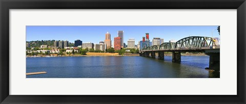 Framed Bridge across the river, Hawthorne Bridge, Willamette River, Portland, Multnomah County, Oregon, USA Print