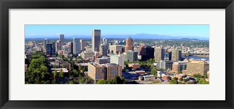 Framed High angle view of a cityscape, Portland, Multnomah County, Oregon Print