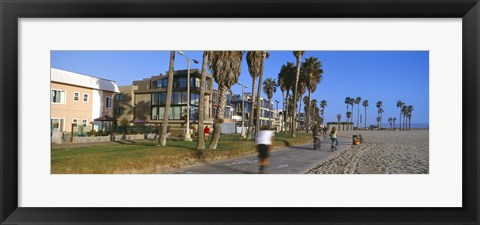 Framed People riding bicycles near a beach, Venice Beach, City of Los Angeles, California, USA Print