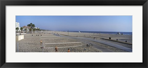 Framed Tourists playing volleyball on the beach, Santa Monica, Los Angeles County, California, USA Print