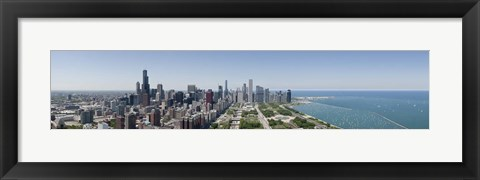 Framed City skyline from south end of Grant Park, Chicago, Lake Michigan, Cook County, Illinois 2009 Print