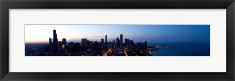Framed High angle view of a city at dusk, Chicago, Cook County, Illinois, USA 2009 Print