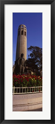 Framed Statue of Christopher Columbus in front of a tower, Coit Tower, Telegraph Hill, San Francisco, California, USA Print