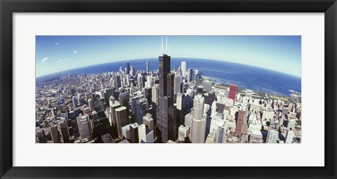 Framed Sears Tower with Lake Michigan in the Background, Chicago, Illinois, USA Print