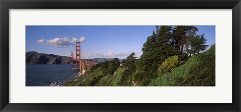 Framed Suspension bridge across the bay, Golden Gate Bridge, San Francisco Bay, San Francisco, California, USA Print