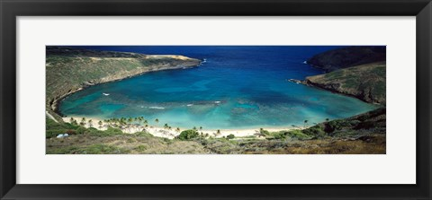 Framed High angle view of a coast, Hanauma Bay, Oahu, Honolulu County, Hawaii, USA Print