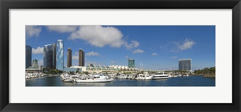 Framed Buildings in a city, San Diego Convention Center, San Diego, Marina District, San Diego County, California, USA Print