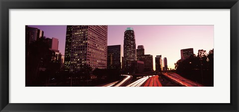 Framed Highway through Skyscrapers in Los Angeles, California Print
