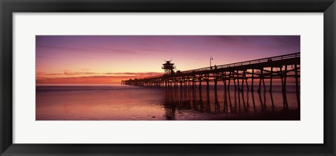 Framed San Clemente Pier at dusk, Los Angeles County, California Print