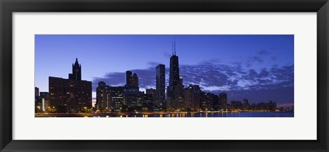 Framed Lit Up Skyline on the Lake Michigan Waterfront, Chicago Print