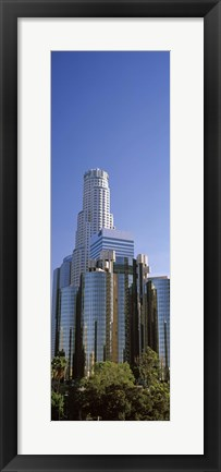 Framed Skyscrapers in a city, Los Angeles County, California, USA Print