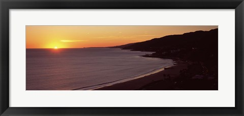 Framed Beach at sunset, Malibu Beach, Malibu, Los Angeles County, California, USA Print