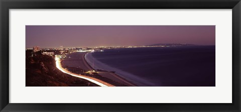 Framed City lit up at night, Highway 101, Santa Monica, Los Angeles County, California, USA Print