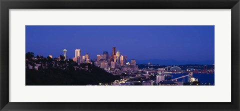 Framed Buildings in a city, Elliott Bay, Seattle, Washington State, USA 2010 Print
