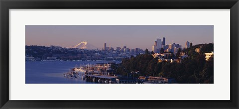 Framed Buildings at the waterfront, Lake Union, Seattle, Washington State, USA Print