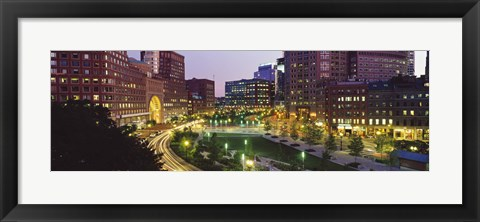 Framed Buildings in a city, Atlantic Avenue, Wharf District, Boston, Suffolk County, Massachusetts, USA 2010 Print