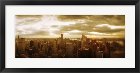 Framed Manhattan on a Cloudy Day Print