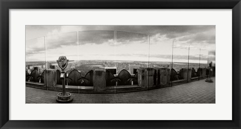 Framed Coin-operated binoculars on the top of a building, Rockefeller Center, Manhattan, New York (black and white) Print