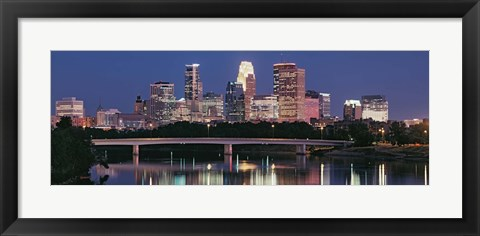 Framed Buildings lit up at night in a city, Minneapolis, Mississippi River, Hennepin County, Minnesota, USA Print