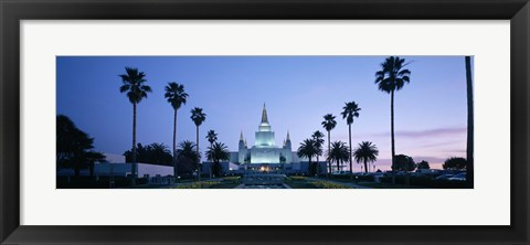 Framed Oakland Temple at dusk, Oakland, California Print